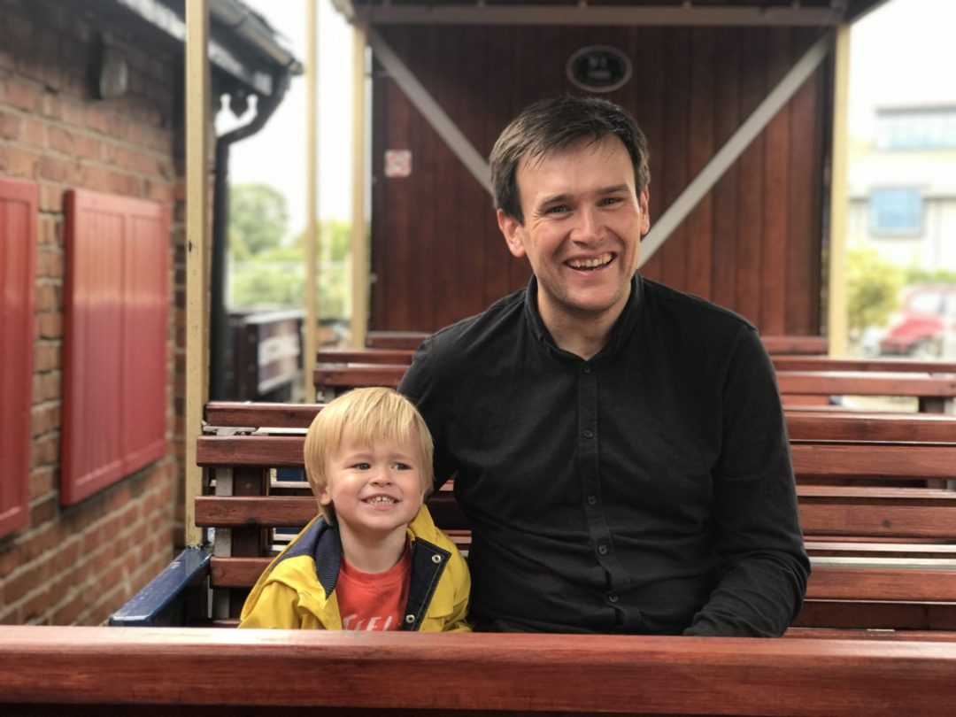Neil and Dexter on the West Lancashire Light railway