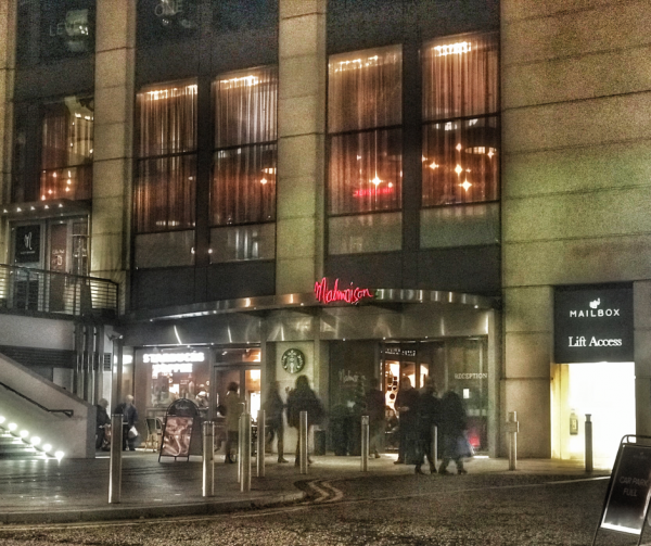 Malmaison hotel in Birmingham at night