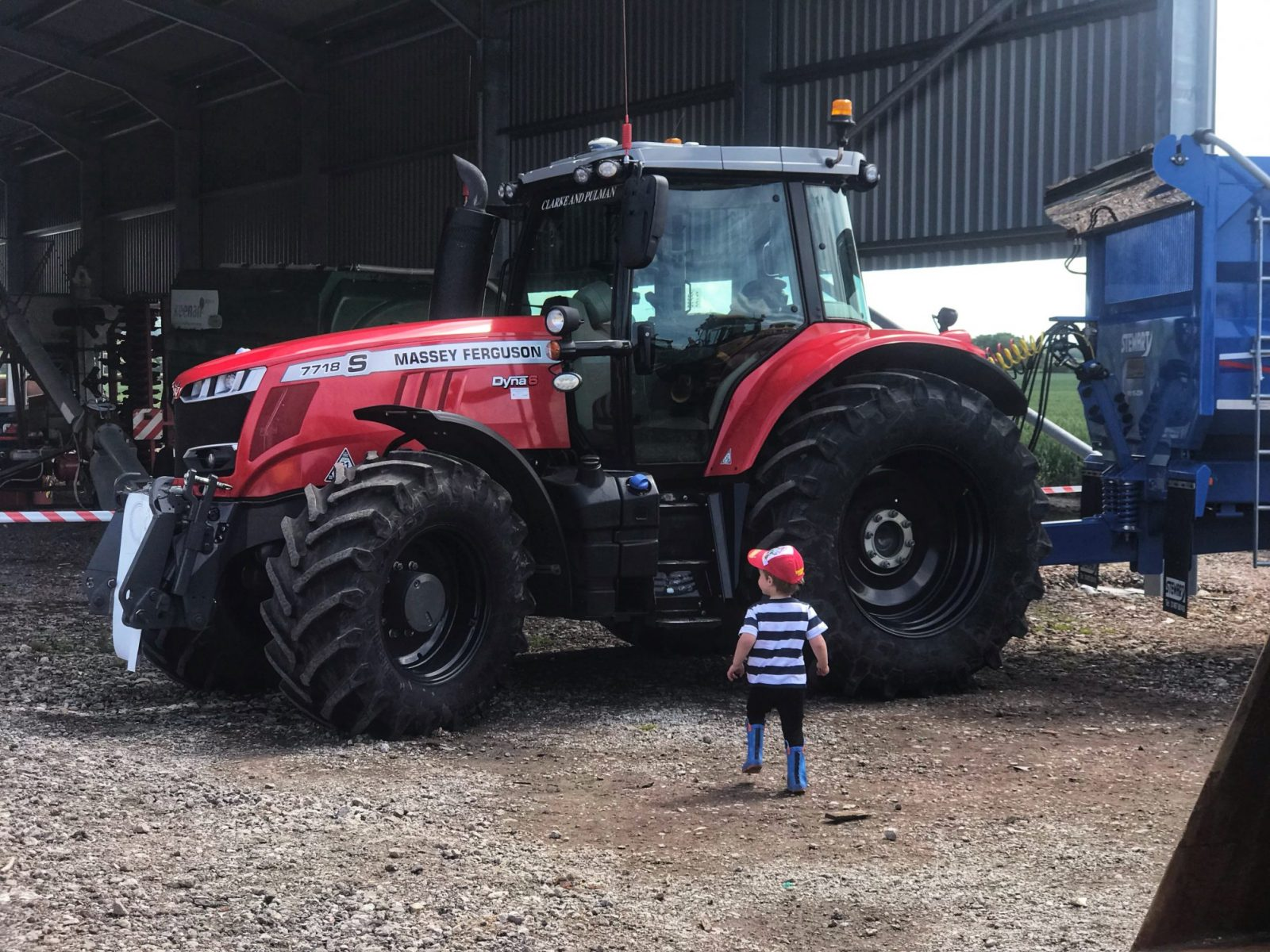 Dexter looking at a red tractor on taylor's Farm on leaf Open farm Sunday