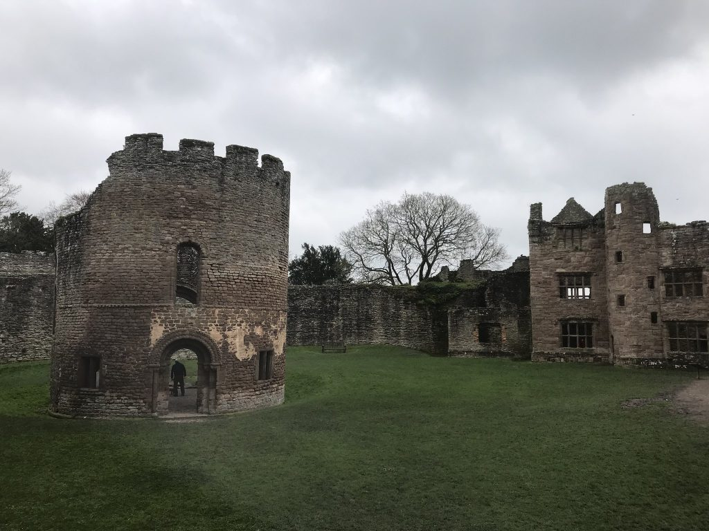 Ludlow castle showing the ruined round house