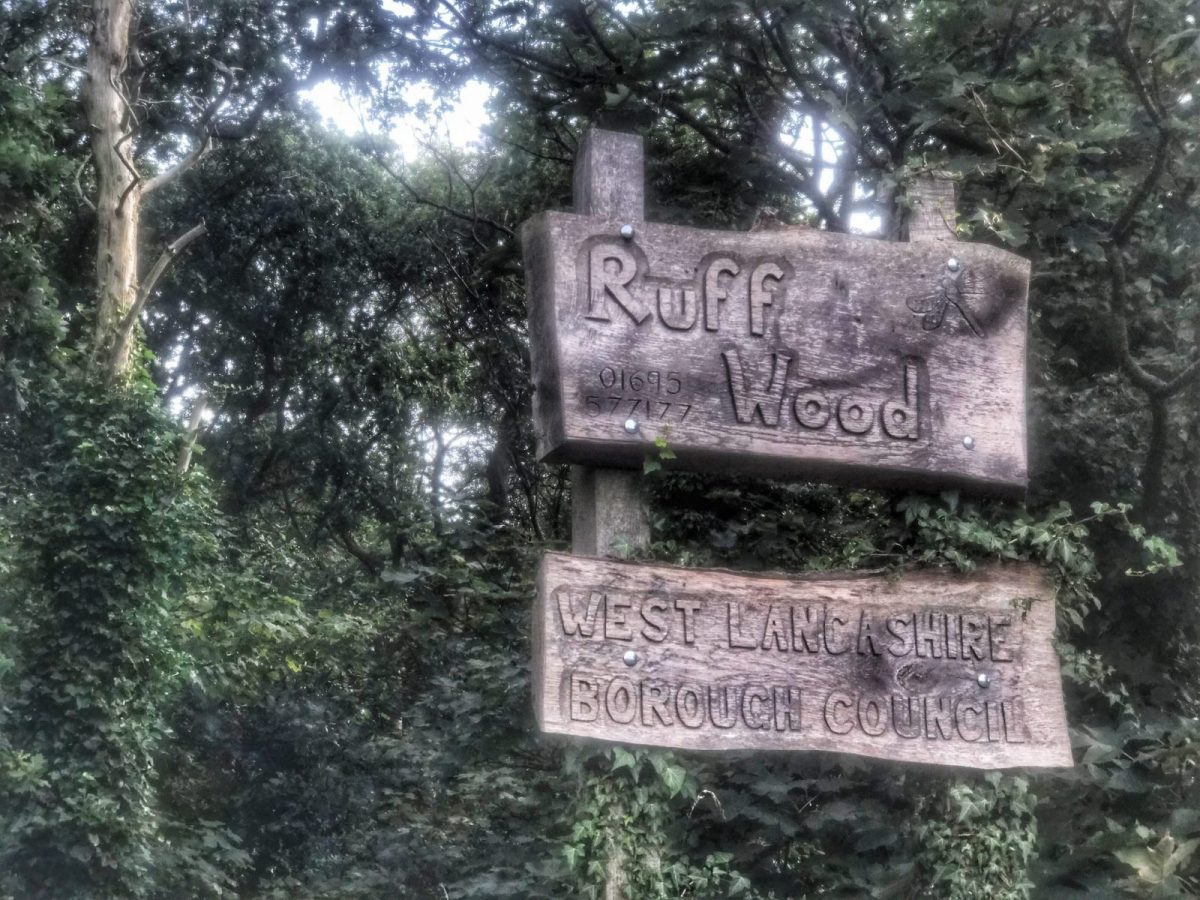 Ruff Wood sign on the edge of the woods