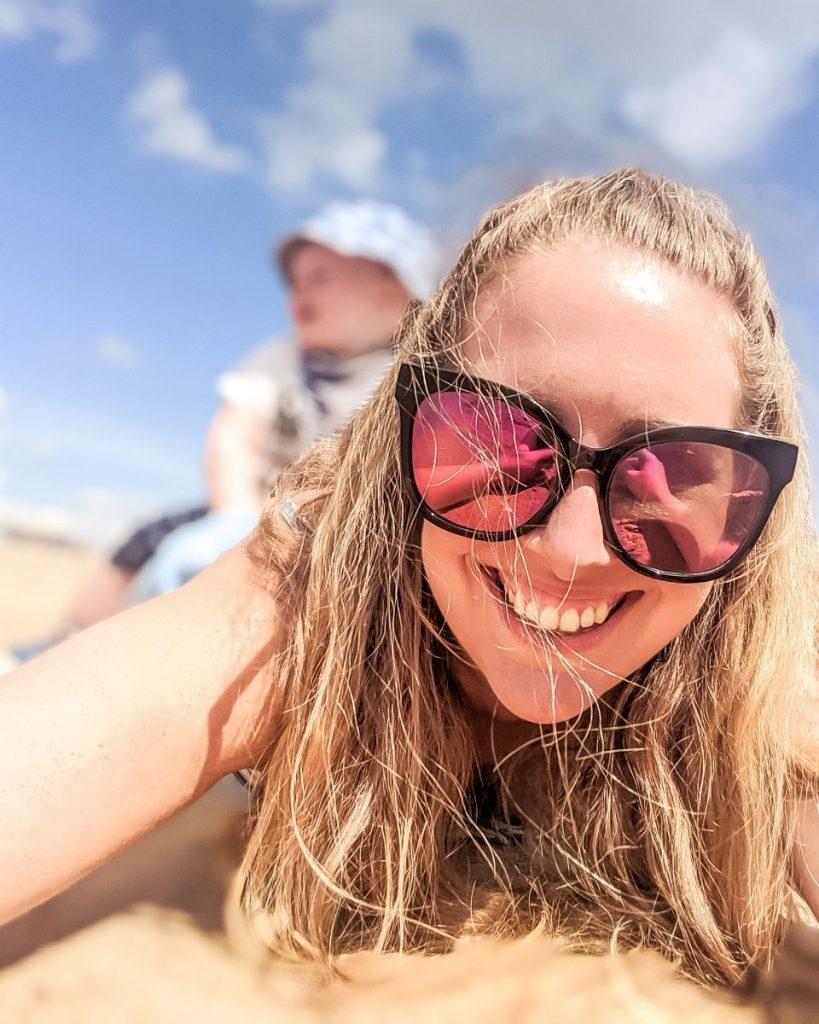 Nicola and Felix on the beach