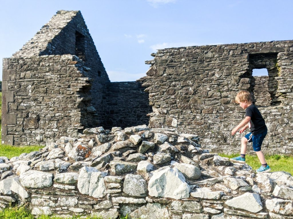 Dexter climbing the wall outside St. Ninian's Chapel in Isle of Whithorn