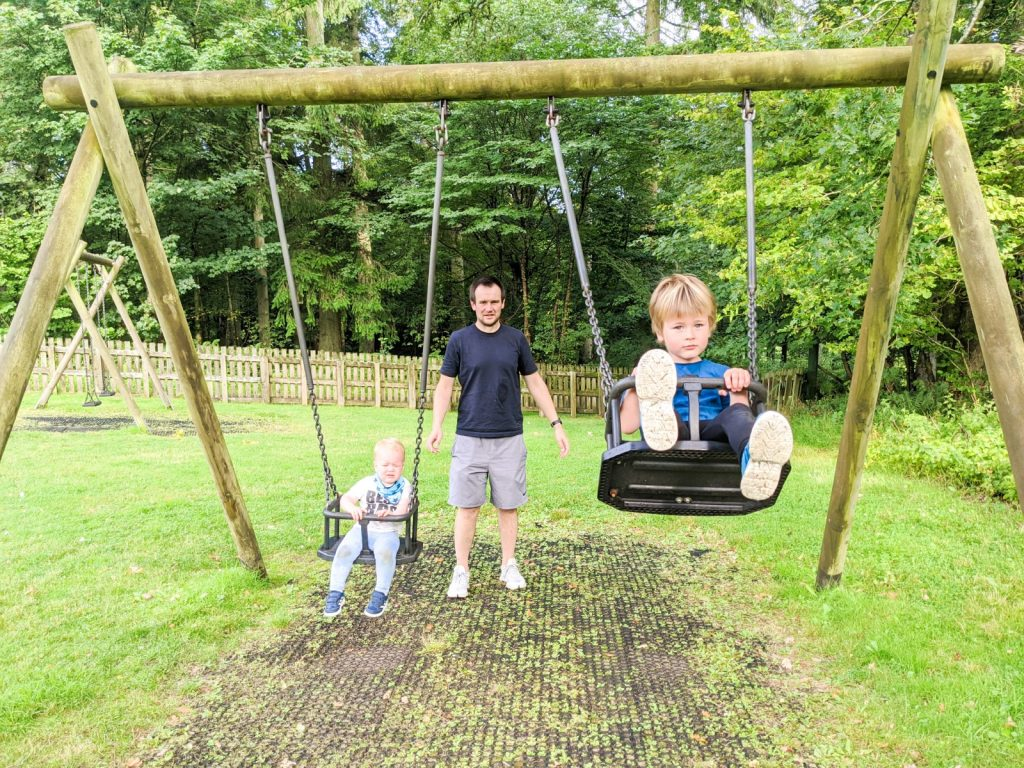 Neil pushing Felix and Dexter on the swings in Mabie Forest
